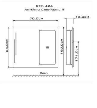 Armário Cris-Metal Cris-Acril II 70×64