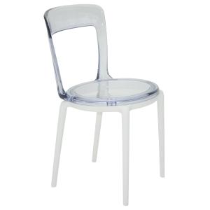 Cadeira Tramontina Luna C em Policarbonato com Base Branca