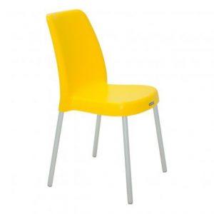 Cadeira Tramontina Vanda com Pernas de Alum. Anod. Amarela