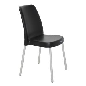 Cadeira Tramontina Vanda com Pernas de Alum. Anod. Preta
