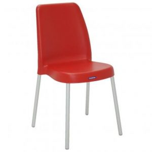 Cadeira Tramontina Vanda com Pernas de Alum. Anod. Vermelha