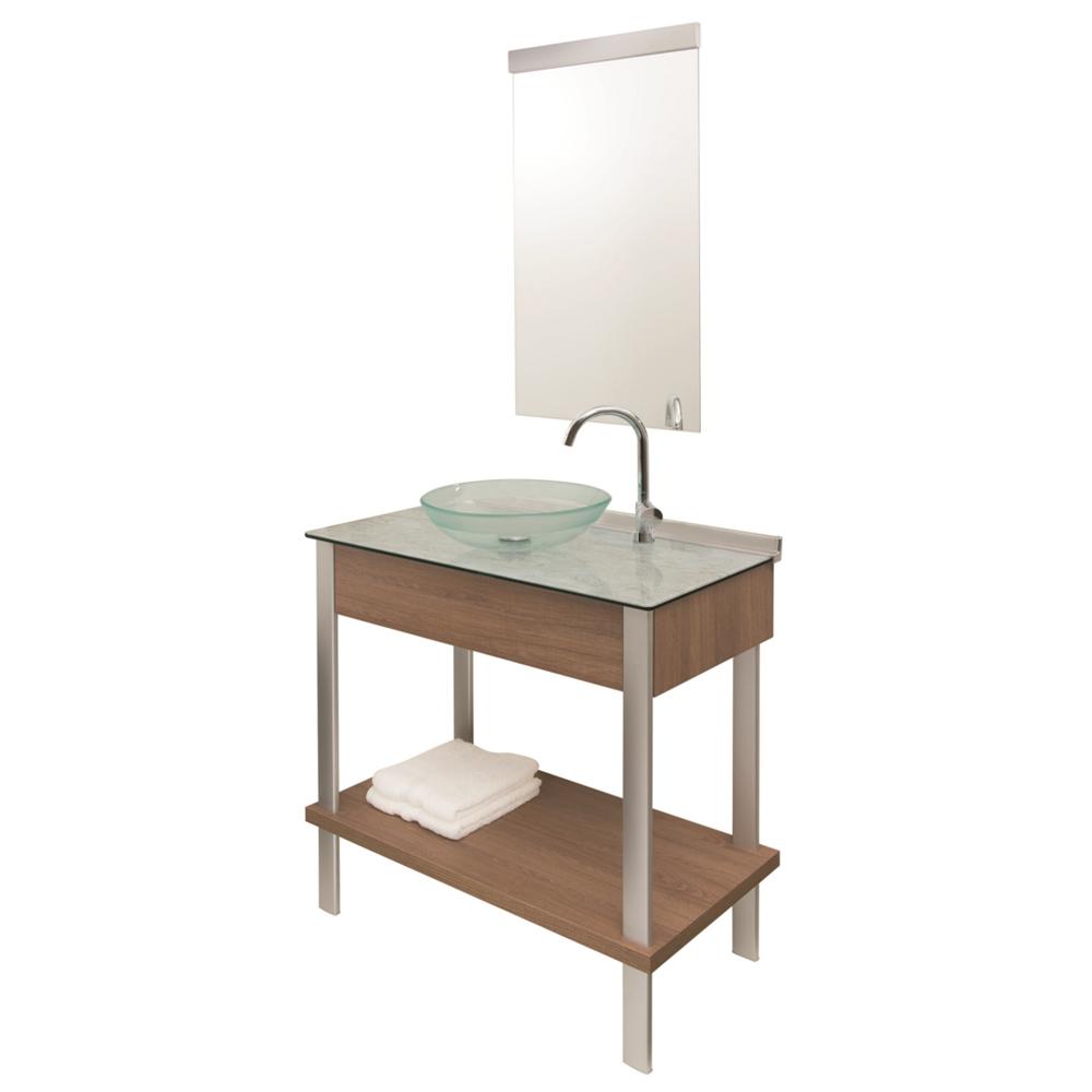Conj. Gabinete com Espelho e Cuba Cris Metal Cris Wood 80