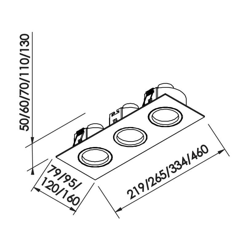 Embutido Lisse II PAR16 GU10 GZ10 – Branco – 95x265x70mm