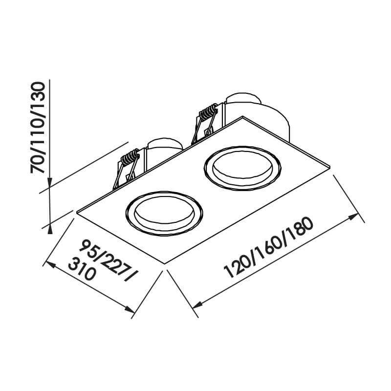 Embutido Lisse II PAR20 E27 – Branco – 227x120x110mm