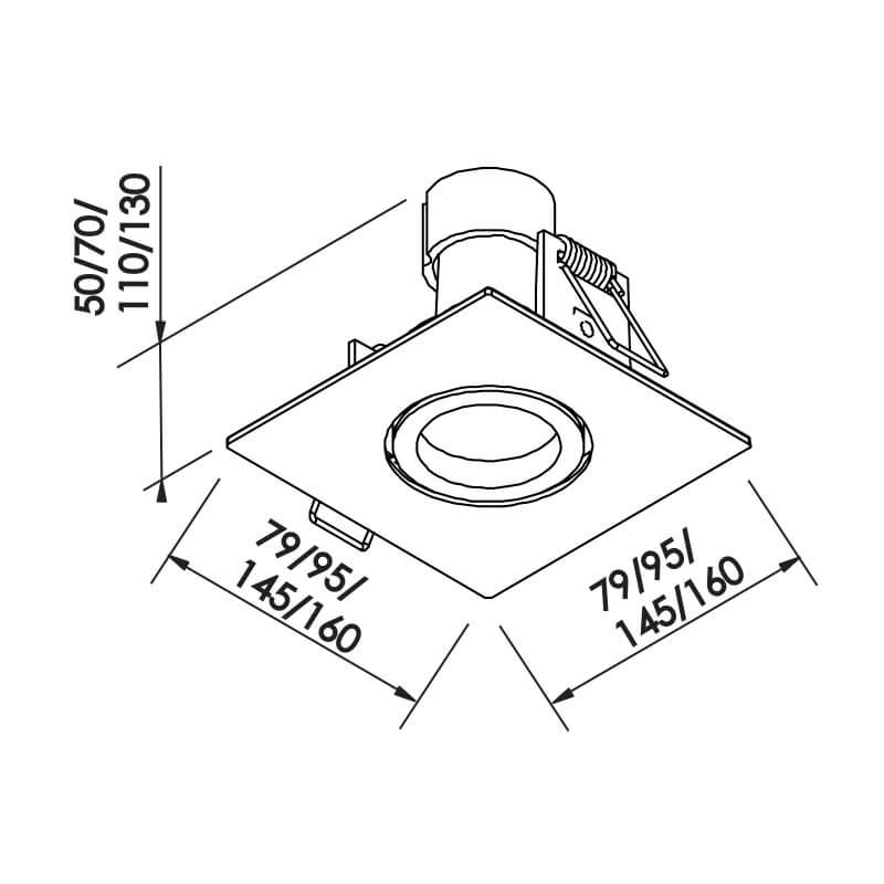 Embutido Lisse II PAR30 E27 – Branco – 160x160x130mm