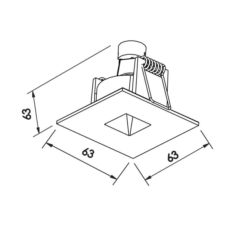 Embutido Lisse II Pin Hole MINI DICRÓICA GU10 GZ10 – Preto – 63x63x70mm