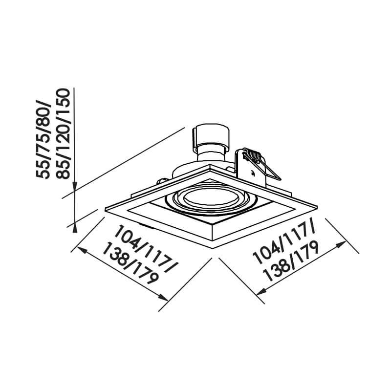 Embutido Recuado II MINI DICRÓICA GU10 GZ10 – Branco/Preto – 104x104x55mm