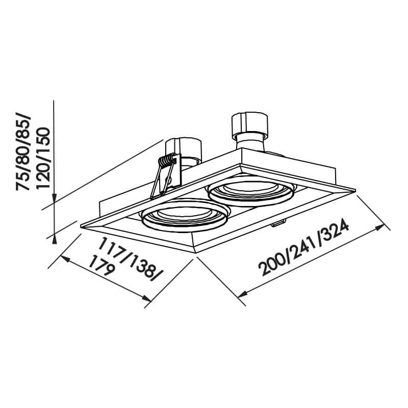 Embutido Recuado II PAR16 GU10 GZ10 – Branco – 117x200x75mm