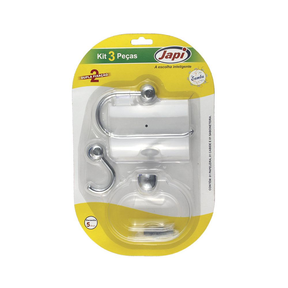 Kit Japi P/Banheiro Samba Cromado 3Pçs (Jksc3)