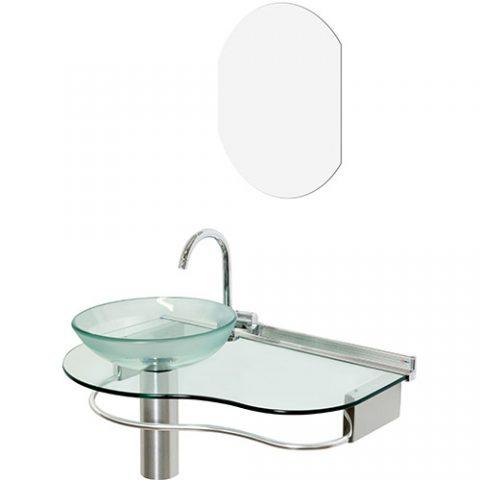 Lavabo Cris-Metal Cris-Glass Agua Marinha 70×45,5 com Espelho