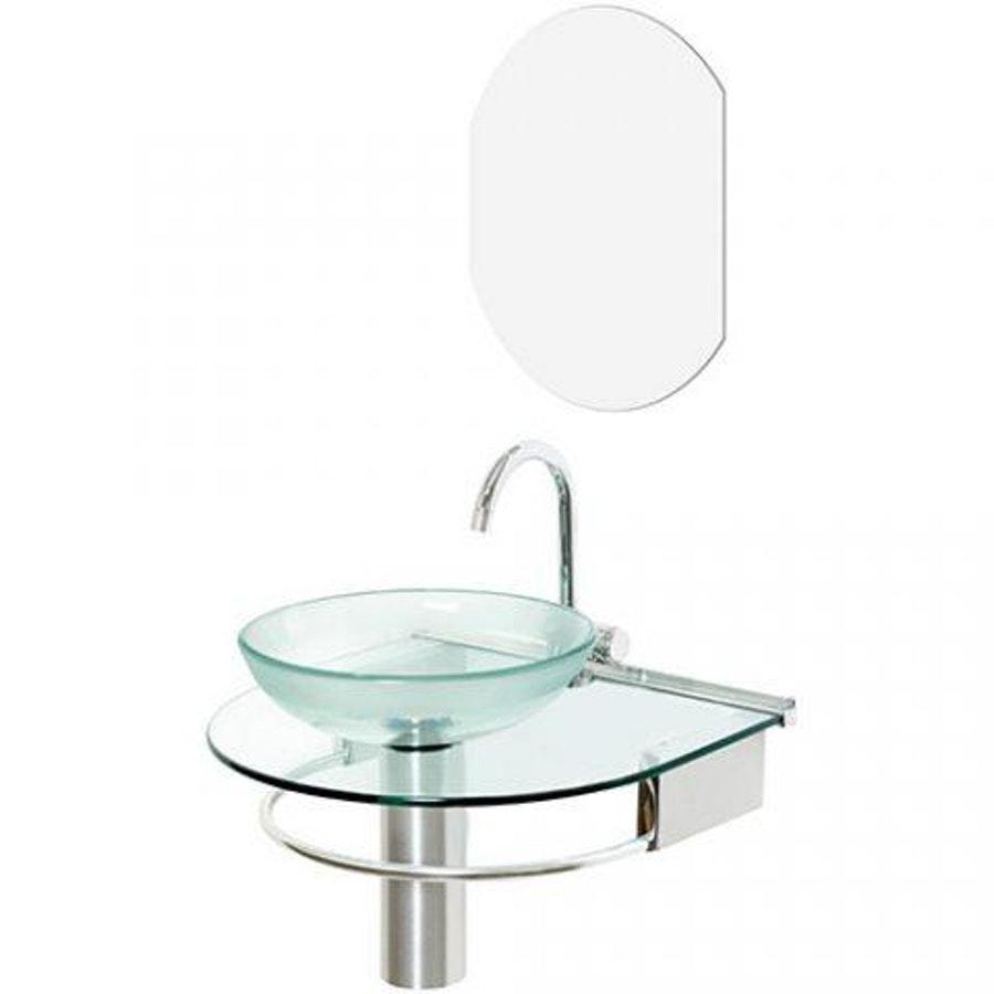 Lavabo Cris-Metal Cris-Glass Jade 50×45,5 com Espelho