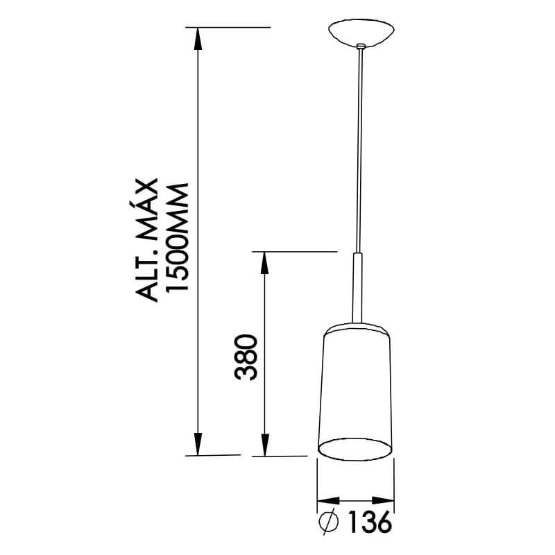 Pendente Bilboquê CFL E27 – Branco – 136x136x380mm