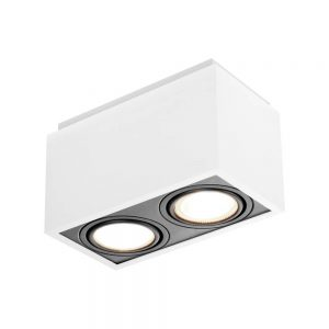 Plafon Box PAR16 GU10 GZ10 – Branco – 117x219x105mm