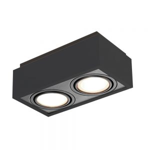 Plafon Box PAR16 GU10 GZ10 – Preto – 117x219x105mm