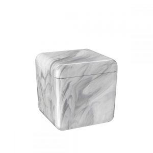 Porta Algodão e Cotonetes Cube Coza Mármore Branco