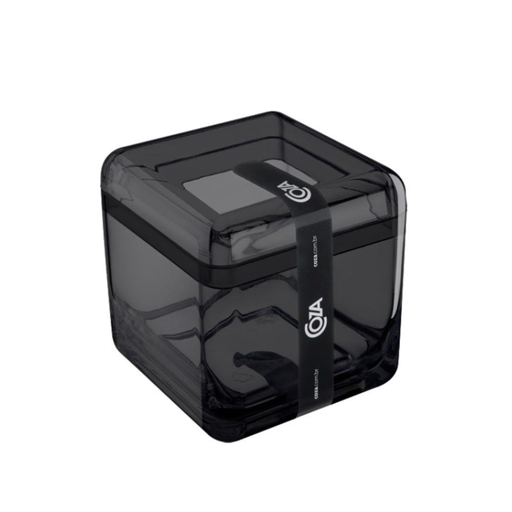 Porta Algodão e Cotonetes Cube Coza Preto
