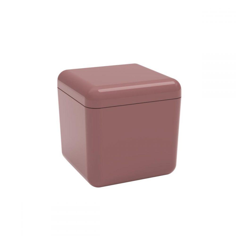 Porta Algodão e Cotonetes Cube Coza Rosa Malva