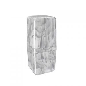 Porta Escova Coza com Tampa Cube Mármore Branco