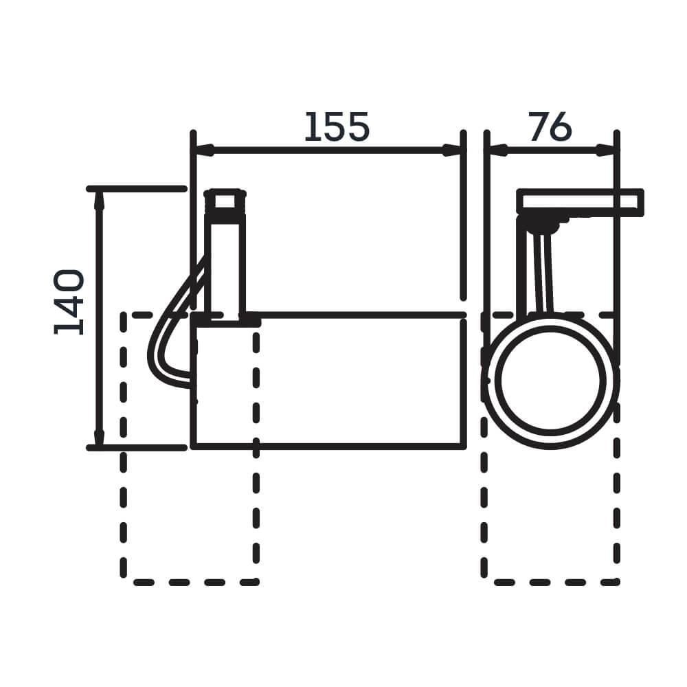Spot para Trilho Lisse PAR20 E27 Branco – 155x76x140mm