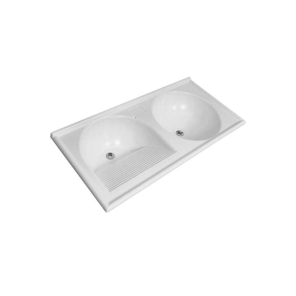 Tanque Duplo Thermo Fibra Decoralita 100×50 Branco