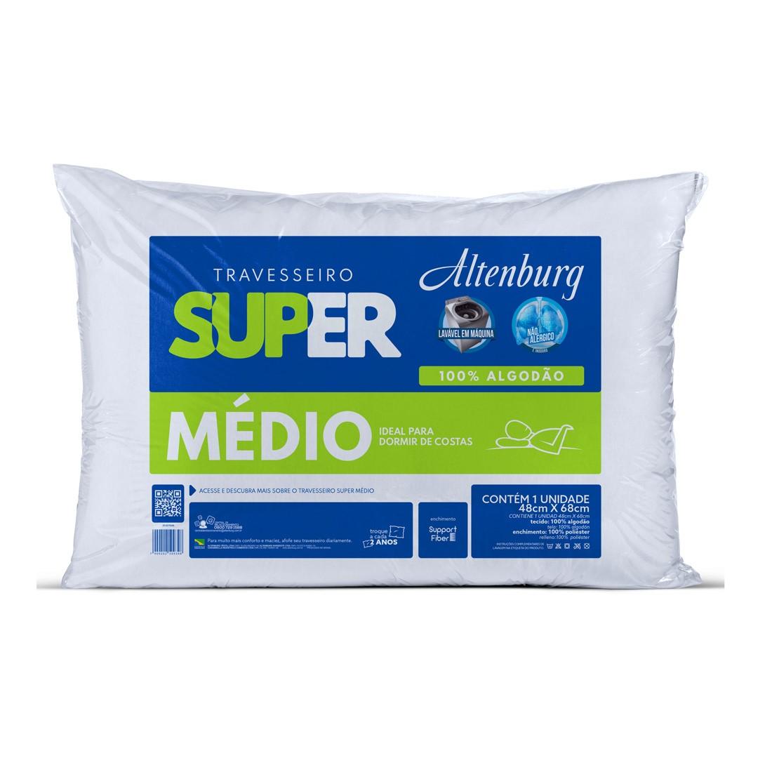 Travesseiro Altenburg 48×68 Super Suporte Médio Branco