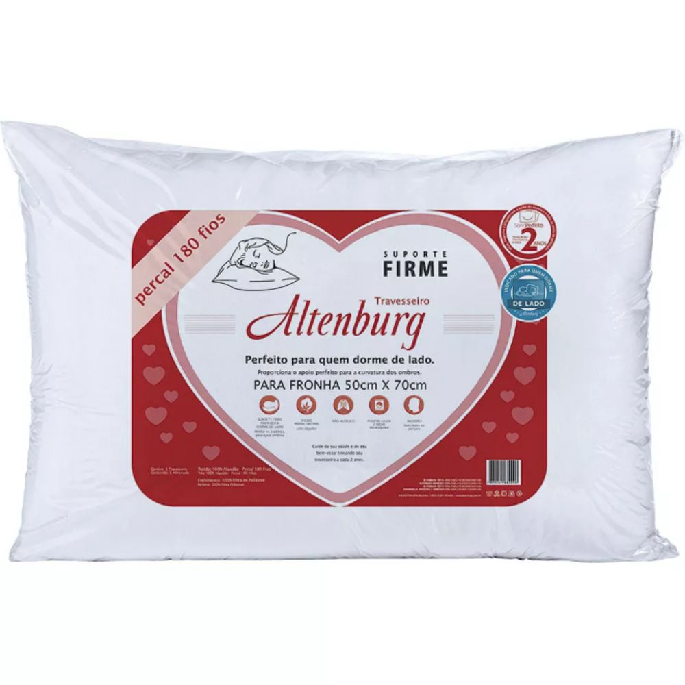 Travesseiro Altenburg 50×70 Suporte Firme 180 Fios Branco