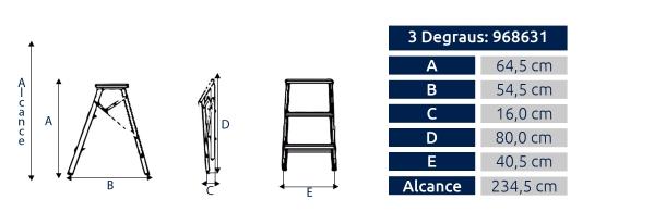 Escada Banqueta Residencial Alumasa 3 Degraus