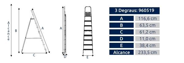 Escada Residencial Alumasa 3 Degraus
