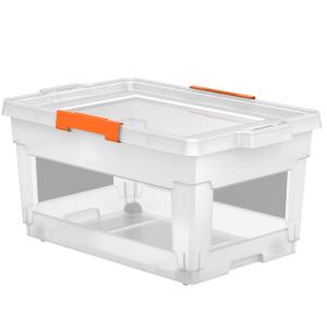 Caixa Organizadora Tramontina T-Force 60L com Rodas em Polipropileno Transparente